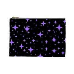 Bright Purple   Stars In Space Cosmetic Bag (large)  by Costasonlineshop