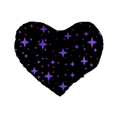 Bright Purple   Stars In Space Standard 16  Premium Flano Heart Shape Cushions by Costasonlineshop
