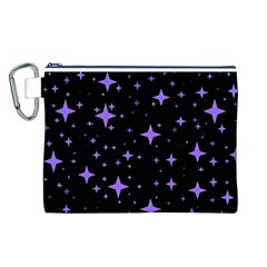 Bright Purple   Stars In Space Canvas Cosmetic Bag (l) by Costasonlineshop