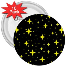Bright Yellow   Stars In Space 3  Buttons (10 Pack)  by Costasonlineshop