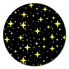 Bright Yellow   Stars In Space Magnet 5  (round) by Costasonlineshop