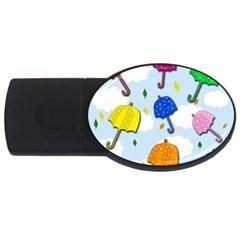 Umbrellas  Usb Flash Drive Oval (4 Gb)  by Valentinaart