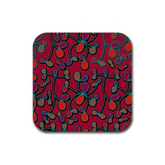 Red Floral Pattern Rubber Coaster (square)  by Valentinaart
