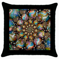 Marbled Spheres Spiral Throw Pillow Case (black) by WolfepawFractals