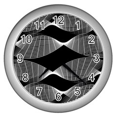 Wavy Lines Black White Seamless Repeat Wall Clocks (silver)  by CrypticFragmentsColors