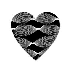 Wavy Lines Black White Seamless Repeat Heart Magnet by CrypticFragmentsColors