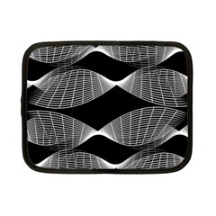 Wavy Lines Black White Seamless Repeat Netbook Case (small)  by CrypticFragmentsColors