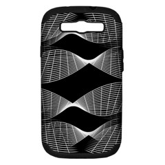 Wavy Lines Black White Seamless Repeat Samsung Galaxy S Iii Hardshell Case (pc+silicone) by CrypticFragmentsColors