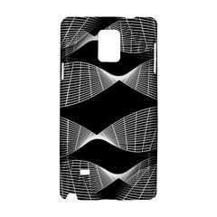 Wavy Lines Black White Seamless Repeat Samsung Galaxy Note 4 Hardshell Case by CrypticFragmentsColors