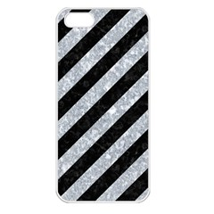 Stripes3 Black Marble & Gray Marble Apple Iphone 5 Seamless Case (white) by trendistuff