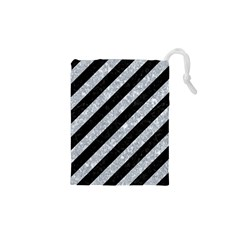 Stripes3 Black Marble & Gray Marble Drawstring Pouch (xs) by trendistuff