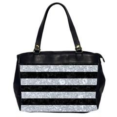 Stripes2 Black Marble & Gray Marble Oversize Office Handbag (2 Sides) by trendistuff