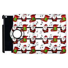 Xmas Song Pattern Apple Ipad 2 Flip 360 Case by Valentinaart