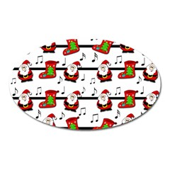 Xmas Song Pattern Oval Magnet by Valentinaart