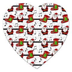 Xmas Song Pattern Jigsaw Puzzle (heart) by Valentinaart
