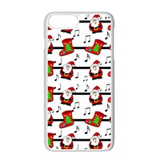 Xmas Song Pattern Apple Iphone 7 Plus White Seamless Case by Valentinaart