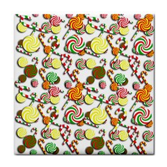 Xmas candy pattern Tile Coasters by Valentinaart