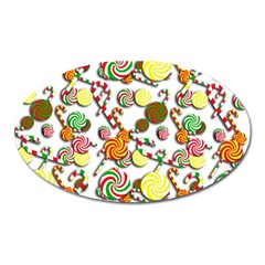 Xmas Candy Pattern Oval Magnet by Valentinaart