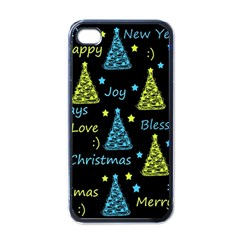 New Year Pattern   Blue And Yellow Apple Iphone 4 Case (black) by Valentinaart