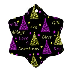 New Year pattern - Yellow and purple Snowflake Ornament (2-Side) by Valentinaart