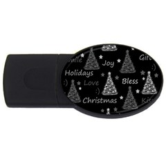 New Year Pattern   Gray Usb Flash Drive Oval (2 Gb)  by Valentinaart