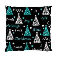 New Year Pattern   Cyan Standard Cushion Case (two Sides) by Valentinaart