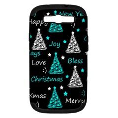 New Year Pattern   Cyan Samsung Galaxy S Iii Hardshell Case (pc+silicone) by Valentinaart
