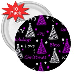 New Year Pattern   Purple 3  Buttons (10 Pack)  by Valentinaart