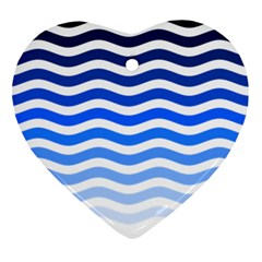 Water White Blue Line Heart Ornament (2 Sides) by AnjaniArt