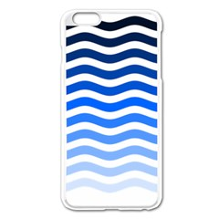 Water White Blue Line Apple Iphone 6 Plus/6s Plus Enamel White Case by AnjaniArt
