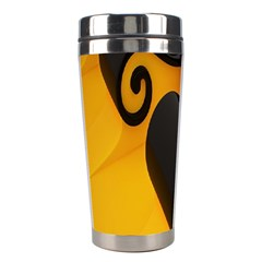 Black Yellow Stainless Steel Travel Tumblers by AnjaniArt