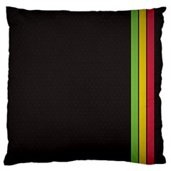 Brown White Stripes Green Yellow Pink Large Cushion Case (two Sides) by AnjaniArt