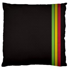 Brown White Stripes Green Yellow Pink Large Flano Cushion Case (two Sides) by AnjaniArt
