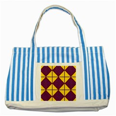 Complexion Purple Yellow Striped Blue Tote Bag by AnjaniArt