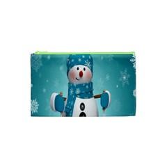 Cute Snowman Cosmetic Bag (xs) by AnjaniArt