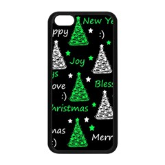 New Year Pattern   Green Apple Iphone 5c Seamless Case (black) by Valentinaart