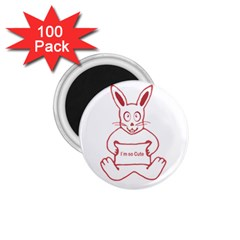 Cute Rabbit With I M So Cute Text Banner 1 75  Magnets (100 Pack)  by dflcprints