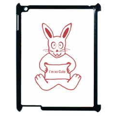 Cute Rabbit With I M So Cute Text Banner Apple Ipad 2 Case (black) by dflcprints