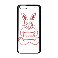 Cute Rabbit With I M So Cute Text Banner Apple Iphone 6/6s Black Enamel Case by dflcprints