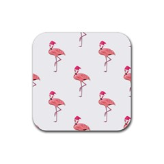 Flamingos Pink Santa Claus Tropical Coastal Christmas Rubber Coaster (square)  by CrypticFragmentsColors