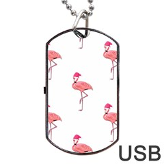 Flamingos Pink Santa Claus Tropical Coastal Christmas Dog Tag Usb Flash (two Sides)  by CrypticFragmentsColors