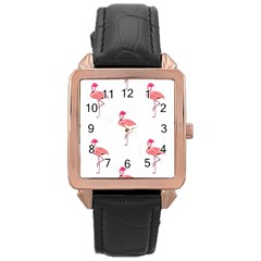 Flamingos Pink Santa Claus Tropical Coastal Christmas Rose Gold Leather Watch  by CrypticFragmentsColors
