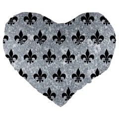 Royal1 Black Marble & Gray Marble Large 19  Premium Flano Heart Shape Cushion by trendistuff