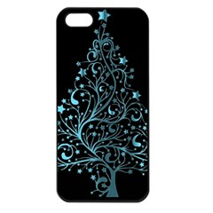 Elegant Blue Christmas Tree Black Background Apple Iphone 5 Seamless Case (black) by yoursparklingshop