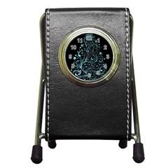 Elegant Blue Christmas Tree Black Background Pen Holder Desk Clocks by yoursparklingshop