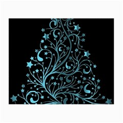Elegant Blue Christmas Tree Black Background Small Glasses Cloth by yoursparklingshop
