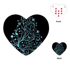 Elegant Blue Christmas Tree Black Background Playing Cards (heart)  by yoursparklingshop