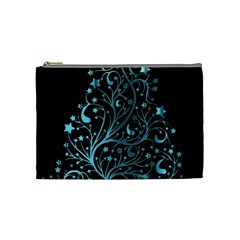 Elegant Blue Christmas Tree Black Background Cosmetic Bag (medium)  by yoursparklingshop