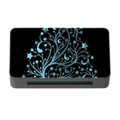 Elegant Blue Christmas Tree Black Background Memory Card Reader With Cf by yoursparklingshop