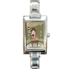 Hig School Rectangle Italian Charm Watch by AnjaniArt